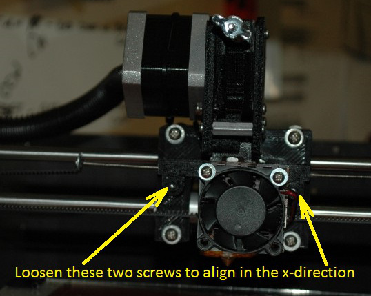 Extruder x-axis alignment